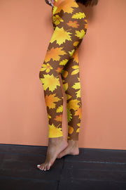 High Waisted Fall Leggings, Yoga Leggings, Yoga Pants, Yoga Wear, High Waisted Pant, Fall Leggings, Fall Leaves, Fall Clothing for women