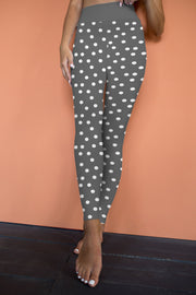 High Waisted Gray Polka Dot Yoga Leggings, Yoga Pants, Yoga Wear, High Waisted Pant,  gray pant, small white polka dots on legging,running