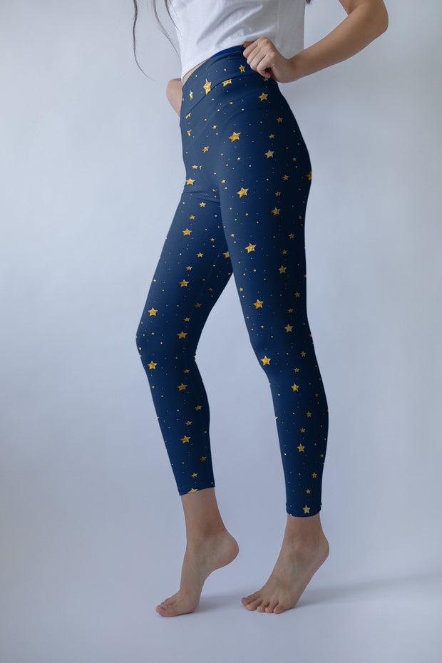 New Years Leggings, Anna Frozen,  Yoga Pants, Blue with Gold Stars, Yoga Leggings, Shiny Stars Navy Blue Pants, Yoga Wear, High Waisted Pant