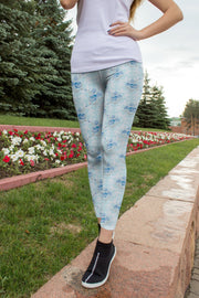 High Waist Blue Floral Flex Capris