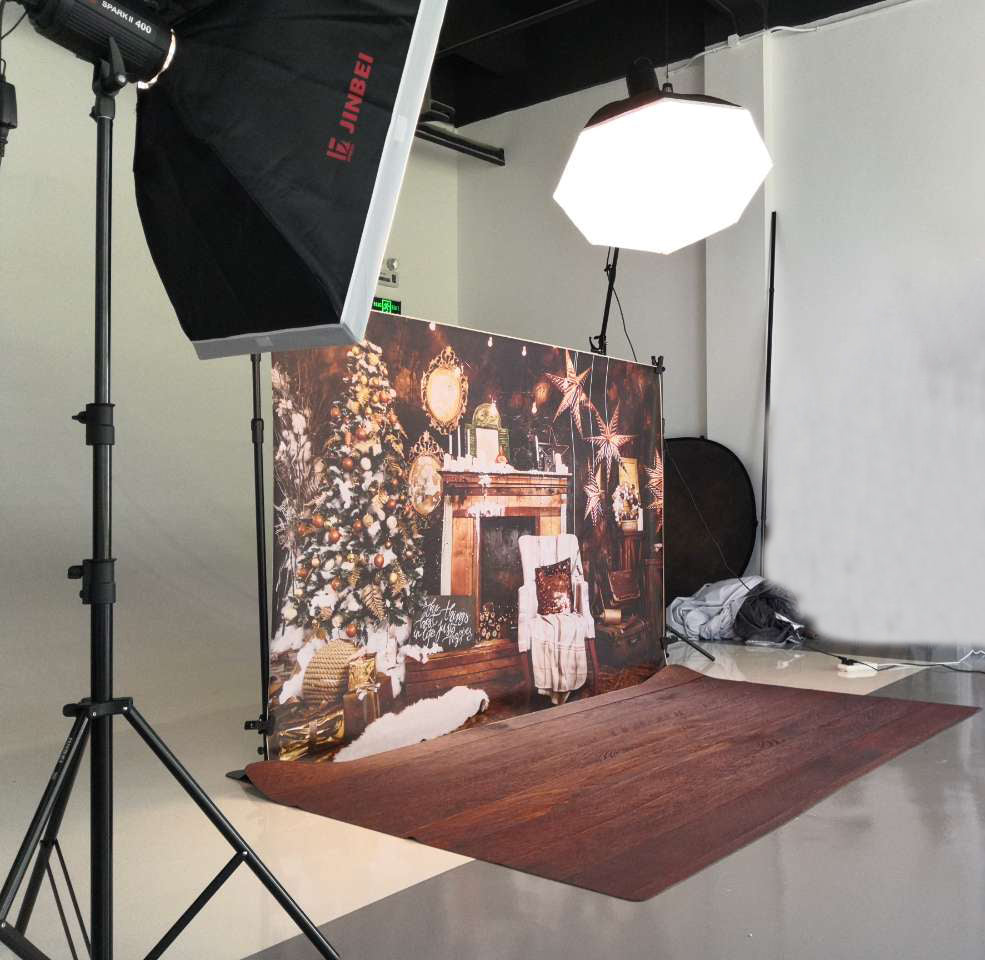 Fox Rolled Retro Christmas Brown Wood Vinyl Backdrop