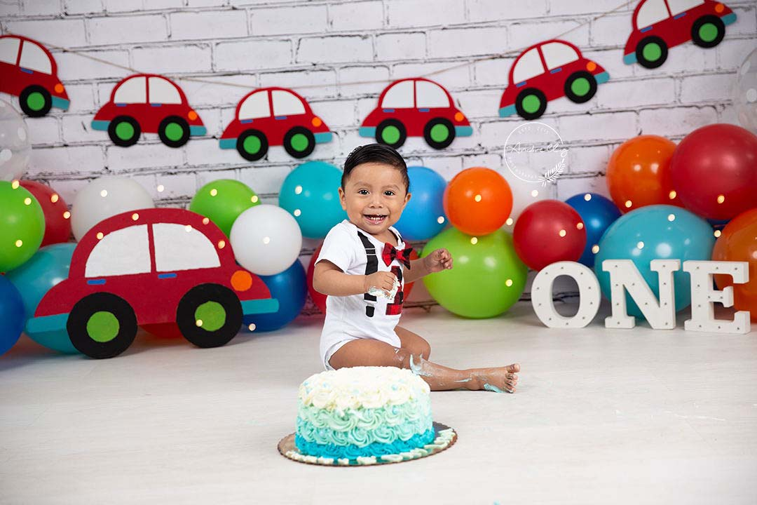 Fox Rolled Colorful Balloons Red Cars Boy Birthday Vinyl Backdrop Designed By Blanca Perez