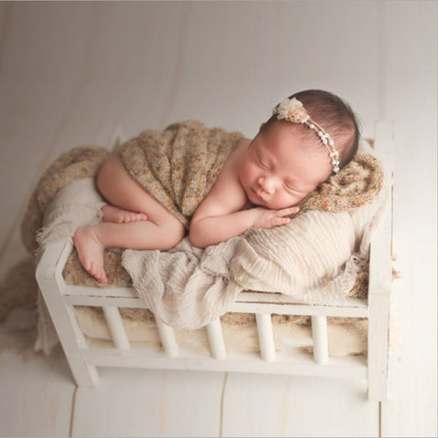 Fox White Brown Wooden Bed for Newborn Baby Photo Prop