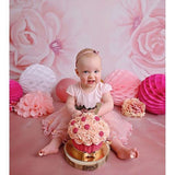 Load image into Gallery viewer, Fox Rolled Pink Flowers Dreamy Vinyl Children Photo Backdrop