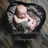Load image into Gallery viewer, Fox Heart-Shaped Wooden Box for Newborn Baby Photo Prop