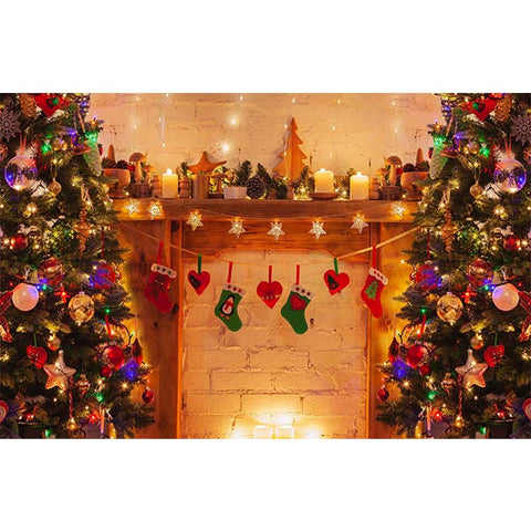 Hot Sale Fox Christmas Fireplace Trees Lights Vinyl Backdrop for Photography