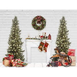 Load image into Gallery viewer, Fox Christmas Trees Vinyl Backdrop with Fireplace Gifts