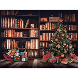 Load image into Gallery viewer, Fox Rolled Bookcase Christmas Tree Vinyl Backdrop