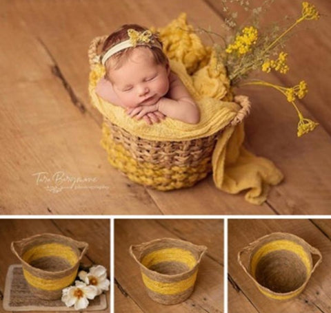 Fox Woven Basket for Newborn Photoshoot Photo Prop