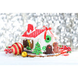 Load image into Gallery viewer, Fox Rolled Gingerbread House Christmas Snow Vinyl Backdrop