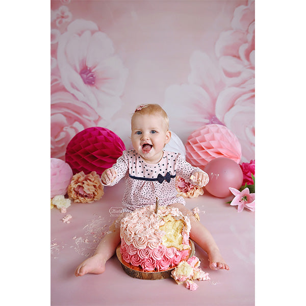 Fox Rolled Pink Flowers Dreamy Vinyl Children Photo Backdrop
