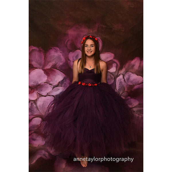 Fox Rolled Vinyl Purple Flowers Backdrop for Photography