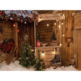 Fox Rolled Wood Christmas Snow Vinyl Backdrop