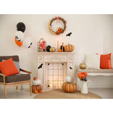 Fox Rolled Halloween Pumpkin Fireplace Vinyl Backdrop
