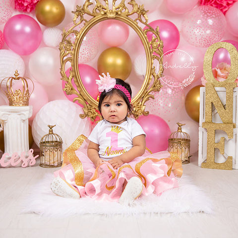 Fox Rolled Pink Balloons Girls Birthday Vinyl Backdrop Designed By Blanca Perez