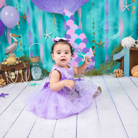 Fox Rolled Vinyl Mermaid Children Birthday Cake Smash Backdrop Designed By Blanca Perez
