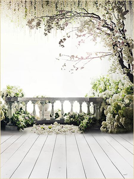 Fox White Flowers Tree Wedding Vinyl Backdrop-Foxbackdrop