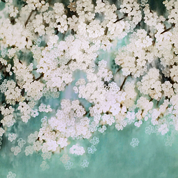 Fox White Flower Spring Vinyl Backdrop-Foxbackdrop