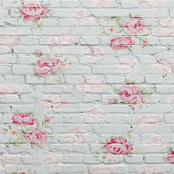Fox Rolled Pink Flowers Grey Brick Vinyl Photo Backdrop