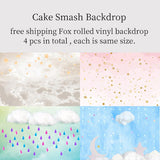 Load image into Gallery viewer, Fox Rolled 4 Pcs Cake Smash Combination Vinyl Backdrop-Foxbackdrop