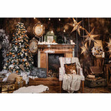 Fox Rolled Retro Christmas Brown Wood Vinyl Backdrop-Foxbackdrop