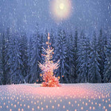 Fox Rolled Winter Snow Cedar Forest Vinyl Backdrop-Foxbackdrop