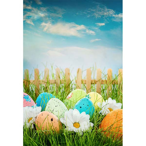 Fox Rolled Grass Eggs Vinyl Easter Backdrop for Photography