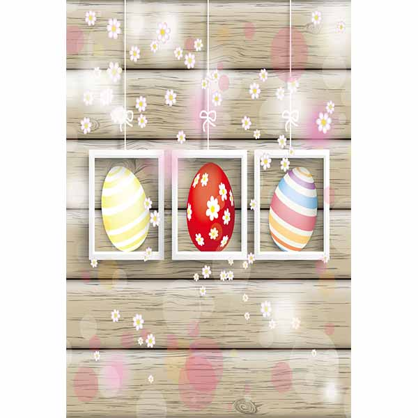 Fox Rolled Colorful Eggs Easter Vinyl Backdrops