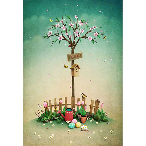 Fox Rolled Trees Eggs Easter Vinyl Photo Backdrop