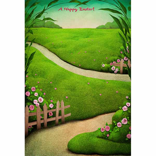 Fox Rolled Green Grass Road Easter Vinyl Backdrops