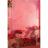 Fox Rolled Red Flowers Pink Love Valentine's Vinyl Backdrop-Foxbackdrop