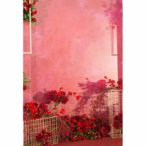 Fox Rolled Red Flowers Pink Love Valentine's Vinyl Backdrop
