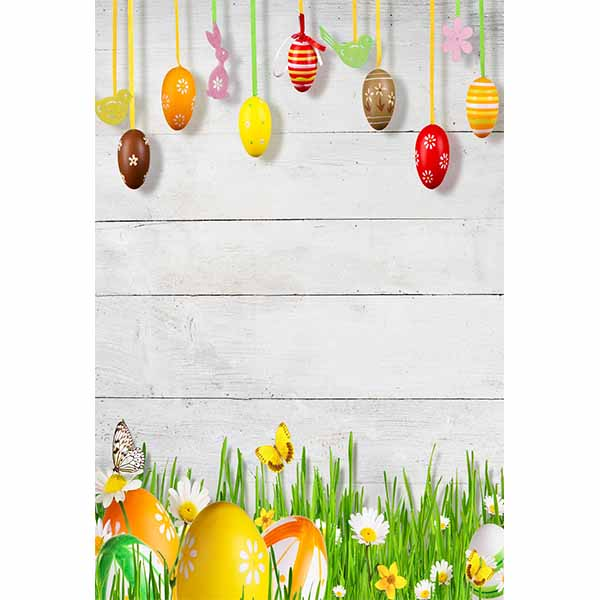 Fox Rolled Easter Eggs Vinyl Photography Backdrop