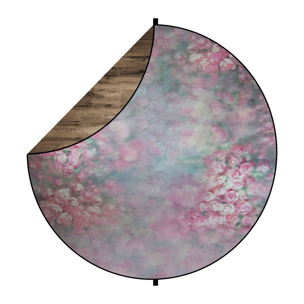Fox Pink Flowers/Brown Wood Collapsible Photography Backdrop 5x5ft(1.5x1.5m)