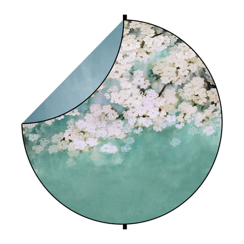 Fox Abstract Green/White Flowers Collapsible Photography Backdrop 5x5ft(1.5x1.5m)
