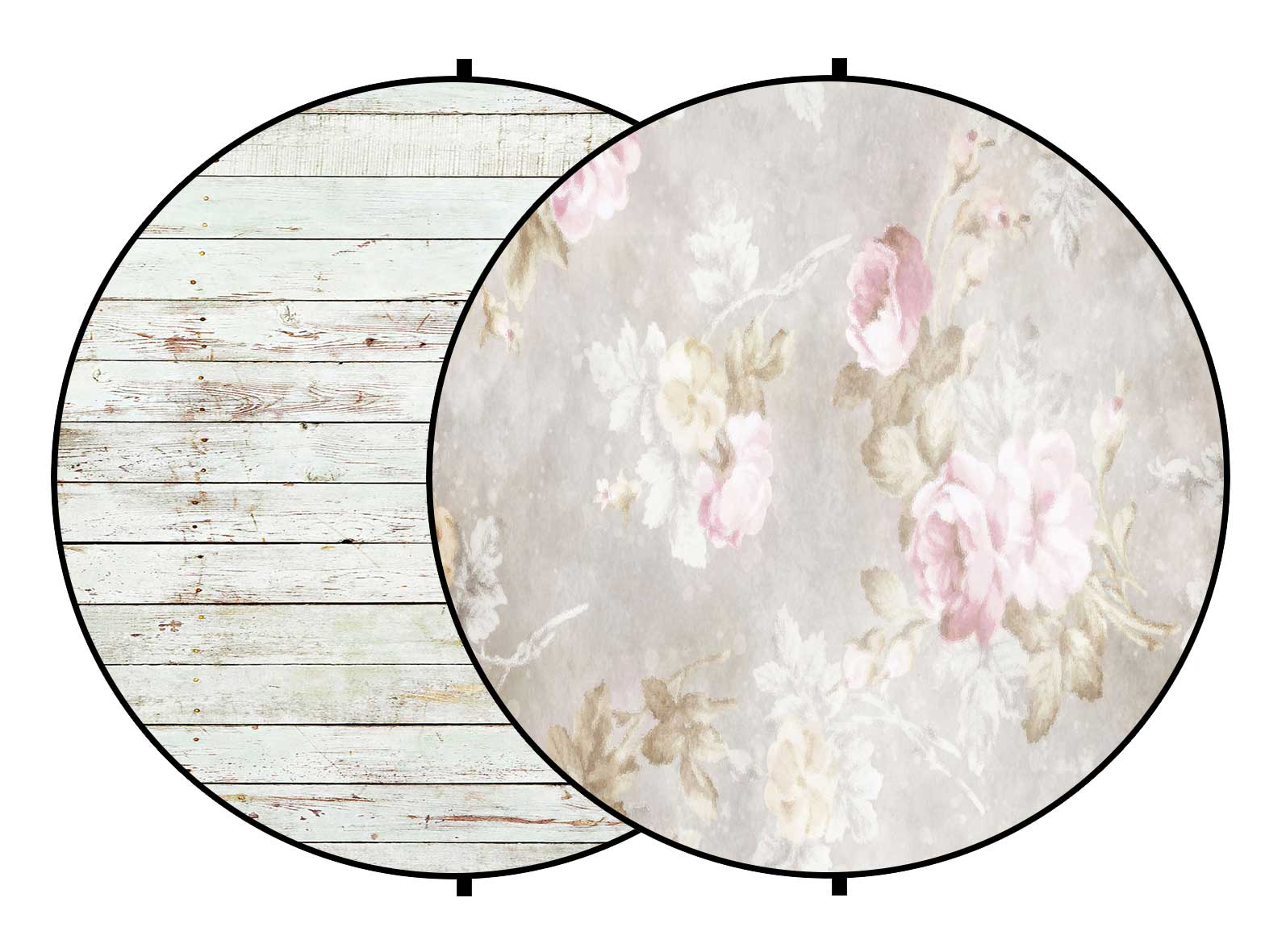 Fox Wood/ Vintage Flowers Collapsible Photography Backdrop 5x5ft(1.5x1.5m)