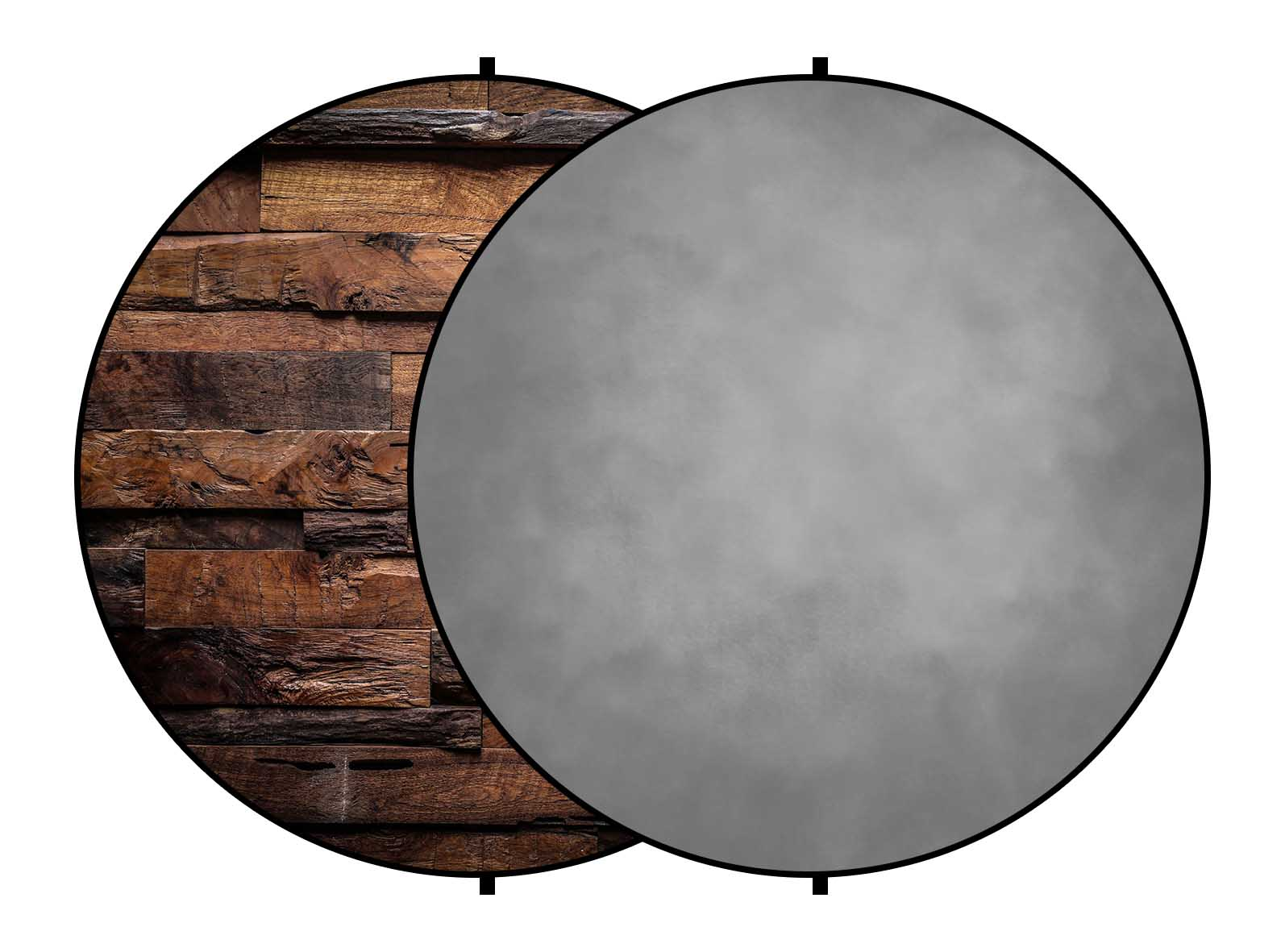 Fox Abstract Gray/ Brown Wood Collapsible Backdrop 5x5ft(1.5x1.5m)