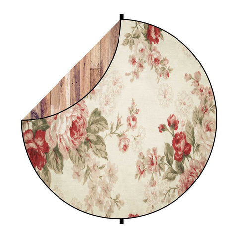 Fox Brown Wood/ Vintage Flowers Collapsible Backdrop 5x5ft(1.5x1.5m)