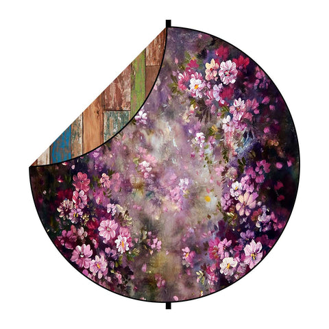 Fox Retro Wood/ Lilac Flowers Collapsible Backdrop 5x5ft(1.5x1.5m)