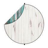 Fox Green/White Wood Collapsible Portrait Backdrop 5x5ft(1.5x1.5m)