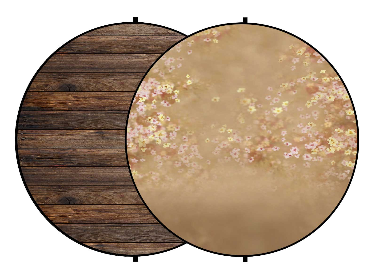Fox Brown Wood/ Flowers Collapsible Photography Backdrop 5x5ft(1.5x1.5m)
