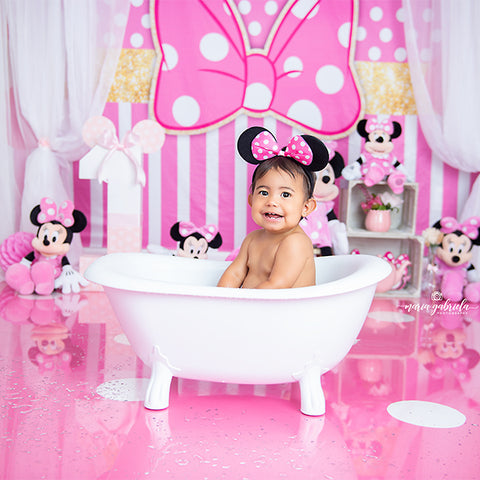 Fox Rolled Pink Mickey Children Party Vinyl Backdrop Designer by Maria Gabriela