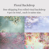 Fox Rolled 4 Pcs Floral Combination Vinyl Backdrop-Foxbackdrop