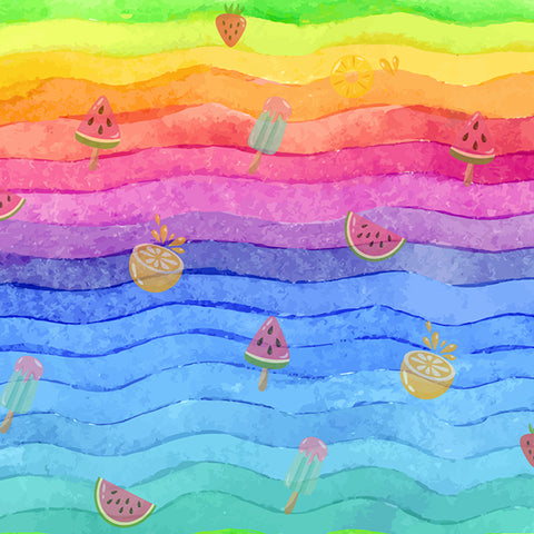 Fox Rainbow Fruit Children Birthday Photoshoot Vinyl Backdrop