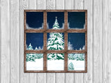 Fox Christmas Wood Wall Window Vinyl Children Backdrop