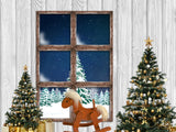 Fox Christmas Trees Winter Snow Window Vinyl Backdrop
