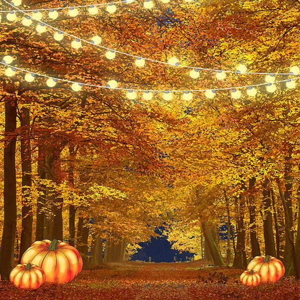 Fox Autumn Pumkin Yellow Leaves Vinyl Backdrop