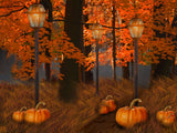 Fox Autumn Photos Yellow Leaves Pumkin Vinyl Backdrop-Foxbackdrop
