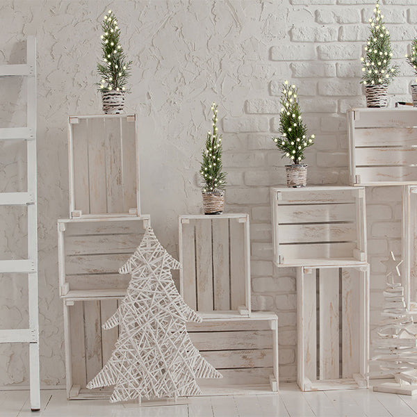 Fox white Wood Christmas backdrop