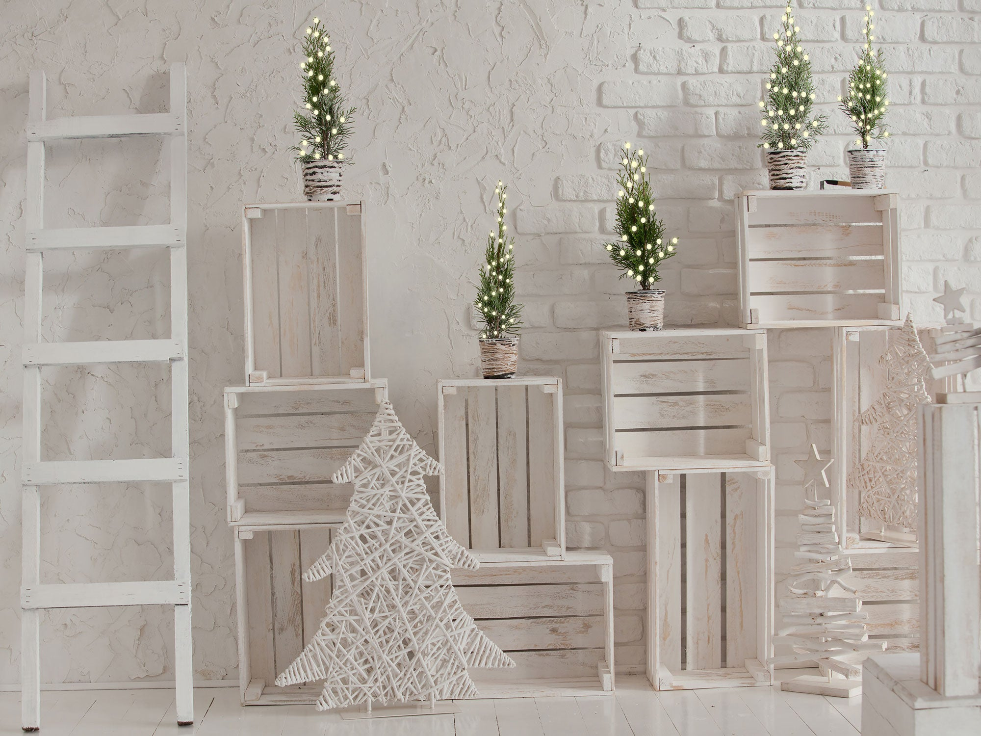 Fox White Wood Christmas Party Vinyl Photo Backdrop
